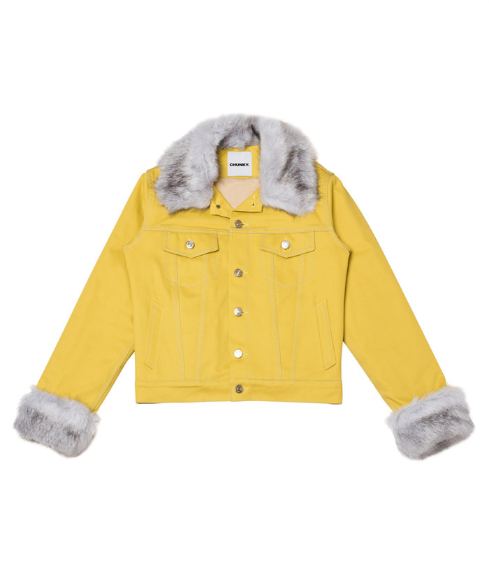 FUR TRIMMED JACKET_mustard